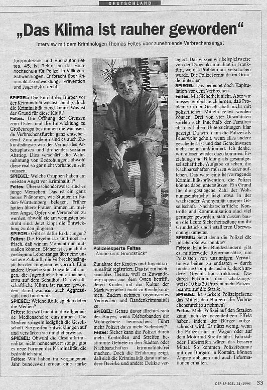 Prof dr thomas feltes for Zeitung spiegel
